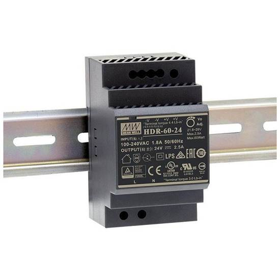 HDR-60-24 ΤΡΟΦΟΔΟΤΙΚΟ MEAN WELL ΡΑΓΑΣ 60W 24V 2.5A
